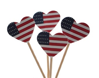 12 American Flag Heart Party Picks, Toothpicks, Cupcake Toppers, Food Picks - No702