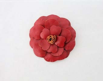 1970s leather flower pin, decorative cut leather brooch
