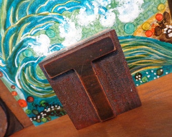 OLD Wooden 2 inch letterpress letter T, wonderful rich brown Hue & Patina, remnants old ink, HOT versatile decor industrial vibe, OTHERS