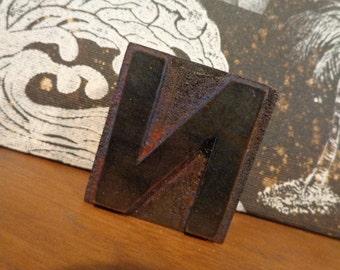 OLD Wooden 2 inch letterpress letter N, wonderful rich brown Hue & Patina, remnants old ink, HOT versatile decor industrial vibe, OTHERS