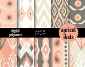 buy2get1 digital paper pack - apricot ikats - 10 scrapbooking papers