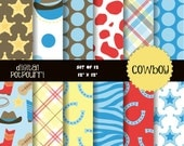 buy2get1 cowboy digital paper pack for scrapbooking, card making, printing - cowboys