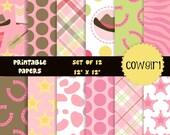buy2get1 digital scrapbook paper pack for scrapbooking, card making, printing - cowgirls