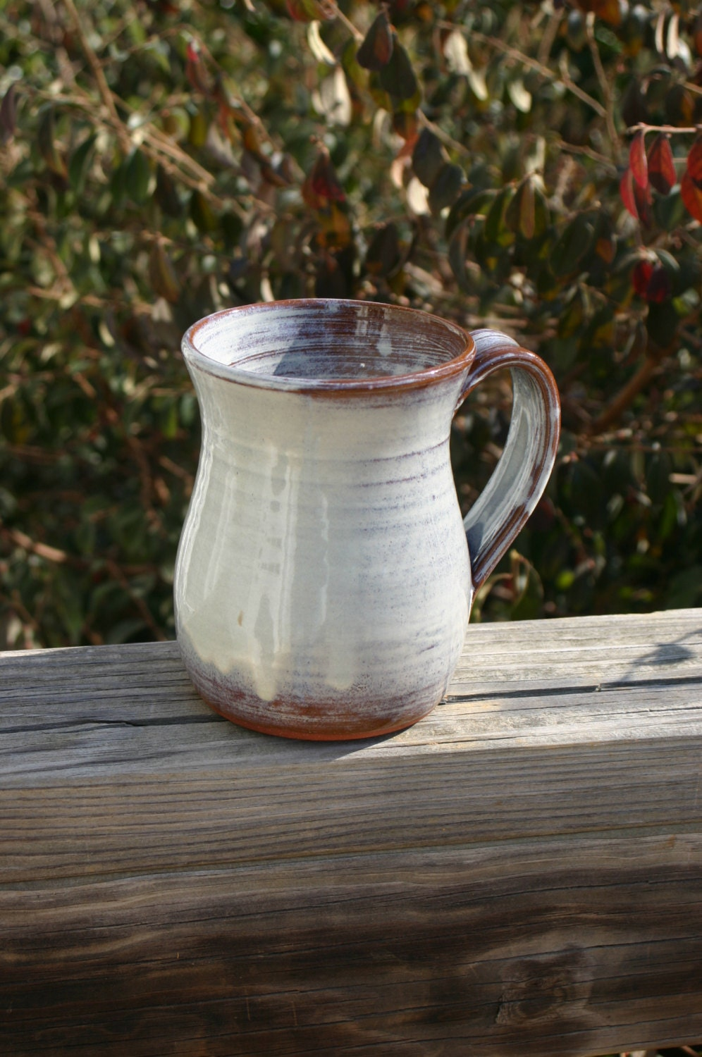 Pottery Mug With Handle Cream Glaze Nc Pottery