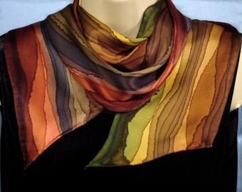 Autumn Earth Tone Stripe Long Skinny Silk Scarf for Women