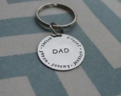 Personalized Hand Stamped Dad Key Chain