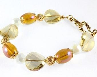 Golden Yellow Glass and Rainbow Mystic Crystal Bracelet