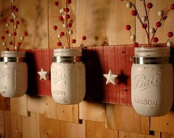 White Stars 39 N Jars Mason Jar Trio On Barn Red Board With White Star
