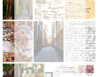 Digital Collage Sheet No 07 Stockholm Old Town ATC Backgrounds
