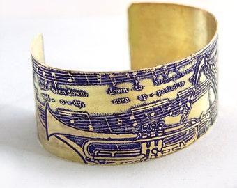 Etched Brass Cuff Bracelet - Memphis Town