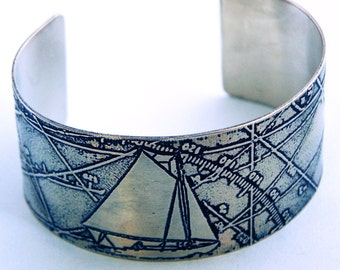 A Following Sea - Etched Nickel Silver Nautical Art Jewelry Cuff Bracelet - anniversary - wedding