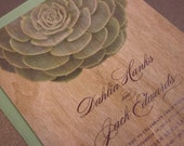 Barn Wood Wedding Invitation with Custom Design - Succulent