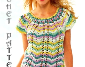 Summer Crochet TOP,Pattern with Chats only written instruction.Only  in PDF files