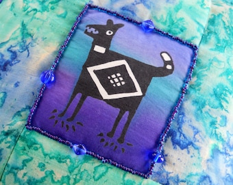 Hand Painted Aztec Dog On Hand Dyed Batik Sham With Hand Beaded Detail — Pillow Included