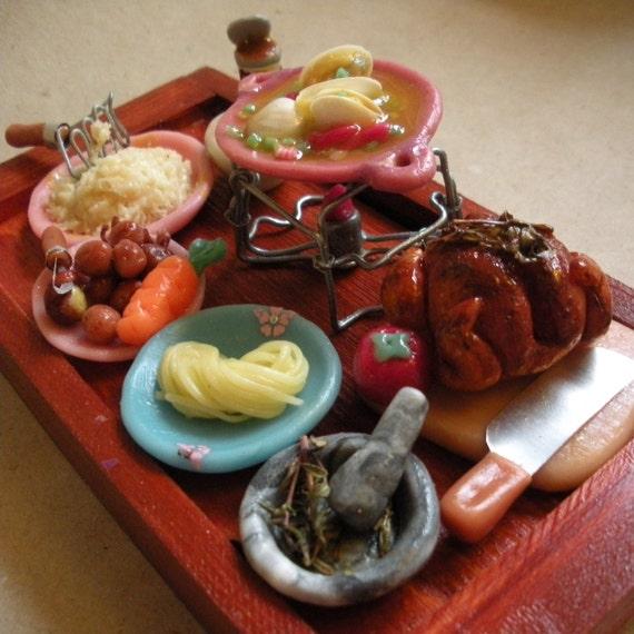 Miniature Doll House Food SALE....dinner preparation....