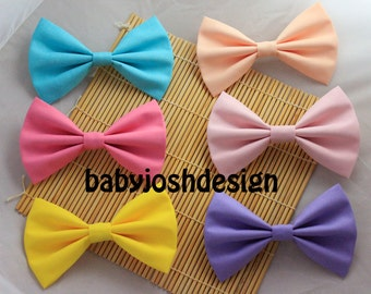 Solid Color Fabric Hair Bows,Pastel Fabric Hair bow for teens or women,girls hair bows,basic hair bows , Hair Bows