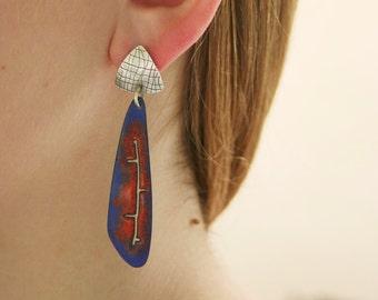 Orange and Cobalt Enamel Earrings