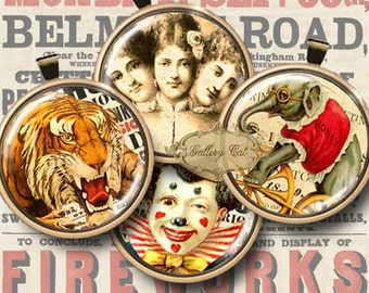 Vintage CIRCUS CIRCLES Digital Collage Sheet 1 Inch Circles Images for Bottle Cap Jewelry Pendant Magnet Scrapbooking GalleryCat CS182