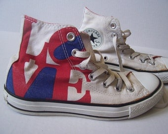 SALE 50% OFF  Converse All Stars high top white with LOVE statue image size 4.5
