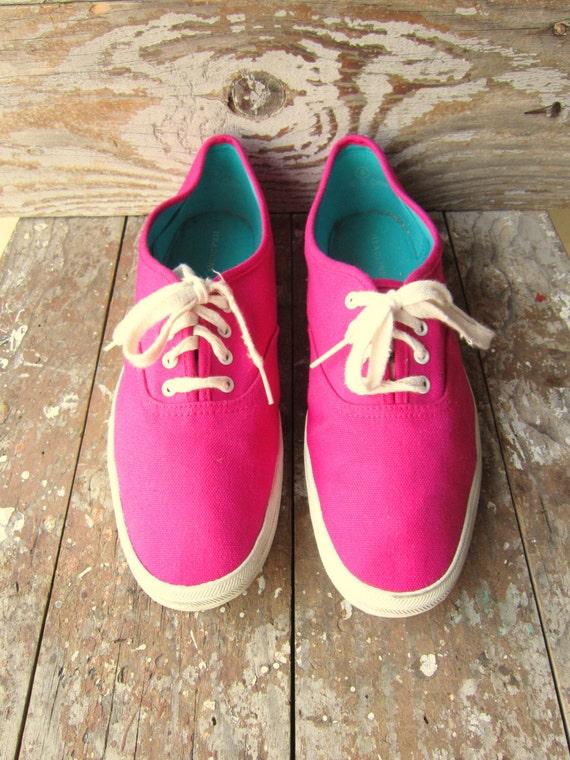 vintage bright pink canvas tennis shoes