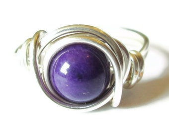 Silver and Purple Ring - Mountain Jade - Wire Wrapped Jewlery