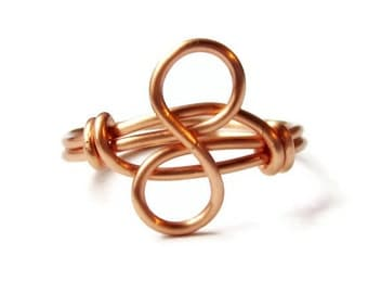 Copper Infinity Ring - Valentine's Day Jewelry - Custom Size Gold Forever Ring