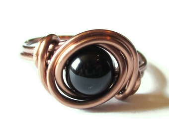 Black Onyx Ring - Boho Ring, Wire Wrapped Black Onyx Jewelry