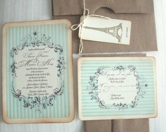 Vintage wedding invitation - Candy Label - Simone Collection-  Mint SAMPLE