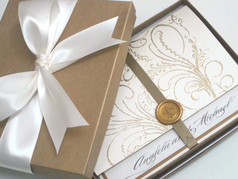 Box Wedding Invitations: Boxed Wedding Invitation Regal Cream Marie Antoinette