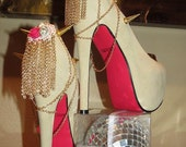 High Heel Platform Spiked Women Shoes Nude with Hot Pink  size 8...A SpikesByG Design