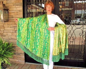 Chinese Silk Shawl in Green and Gold with 68 Luxurious Tassel Fringe by the Old Silk Route
