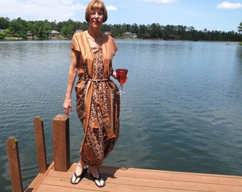 Silk Ikat Sari Dress in Caramel and Chocolate by the Old Silk Route