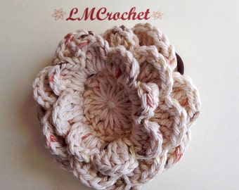 Crochet Flower with Hair Tie - Large, Light Tan Flower on Pony Tail Holders