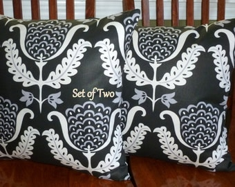 Decorative Pillows, Accent Pillows, Throw Pillows, Pillow Covers, Home Decor  - Two 18inch Black and White