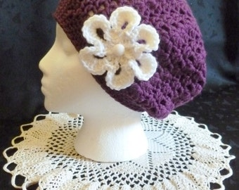 Slouchy Lacy Crochet Beanie with Flower in Dark Purple
