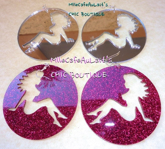 DISCONTINUED  Glitter Mirror Laser Cut  Acrylic Disc  Mudflap Girl Earrings - GLITTER GALS Silhouette (Silver Mirror,  Hot Pink)