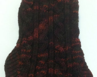 Classic Aran Knit Dog Sweater in Maple Fall Quiltsy Handmade