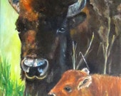 Mother Bison and Calf-9x12- oil on canvas-portrait-Buffalo