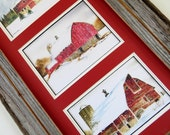3 Watercolor Paintings of Red Barns