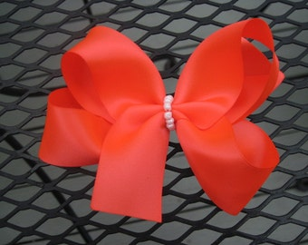 Satin Boutique Hairbow-Bright Coral