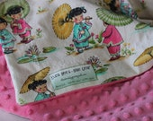 Eliza Bee Baby Blanket - China dolls with parasols and kittens and pink dimple dot minky