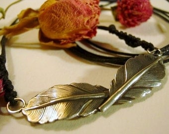 Sterling Silver Two Feathers Necklace