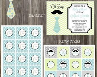 Tie & Mustache Baby Shower Package - Boy DIY Printable
