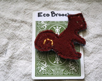 Squirrel Brooch, Pin Back Button, Pin: Eco friendly, Upcycled