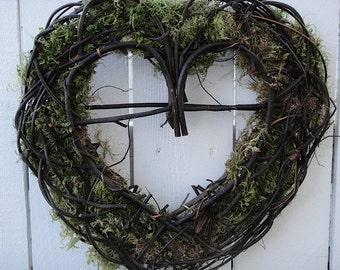 Rustic Heart Wreath      Heart Wreath    Wedding     Rustic Wedding Decor    Valentine Wreath   Moss Wreath  Anniversary Wreath