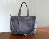 SALE - Tote bag in Gray / Tote Diaper bag / Canvas bag / Messenger bag / School / Men Women / 3 Compartment - Nuch