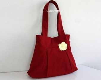 SALE - Red Bridesmaid Purse / Bridesmaid Gift / Tote / Handbag / Pleated Purse / Canvas bag / Everyday Bag with flower / Cute