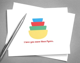 Pyrex Friendship Card. Best Friend Card. Love Card. Funny Card for Woman. Primary Colors. Mixing Bowls. Printable Card. Digital Download.