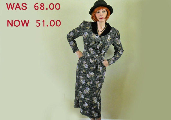 80s Laura Ashley Dress ON SALE 25% off Paisley Floral Corduroy // No Shipping Fees