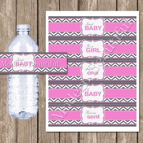 Baby shower water bottle labels pink and gray water bottle
